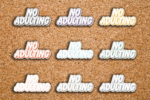 24 No Adulting Outlined BUBBLE Word Header Sticker for 2017 Inkwell Press IWP-S46