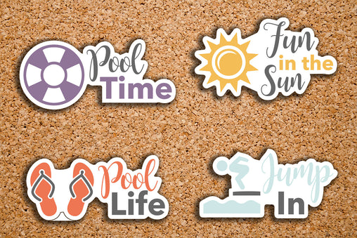 20 Pool Day, Pool Life, Fun in the Sun, Swimming, Vacation, Summer Sampler Icon Stickers for 2017 Inkwell Press IWP-DC107