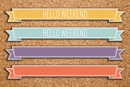 12 Hello Weekend, Blank Ribbon Banner Label Stickers for 2017 Inkwell Press IWP-H63