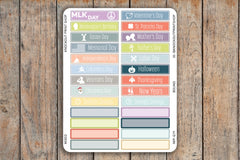 2018 Federal Holiday & Other Notable Dates (A5, Bound, Desk Pad) Monthly Label Planner Stickers for 2018 inkWELL Press Planners IWP-Q19