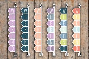 11 A5 & BOUND FLEX Solid Weekend Banner, Day Off, Off Stickers for 2018 inkWELL Press Planners IWP-L31