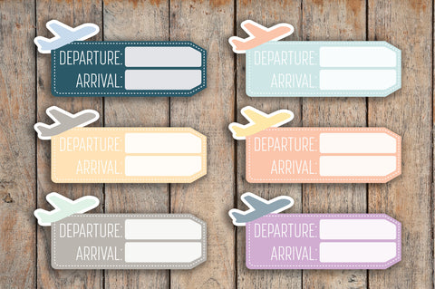 12 Flight Info Tag | Airplane, Flight, Travel, Trip | Planner Stickers for 2018 inkWELL Press Planners IWP-Q61
