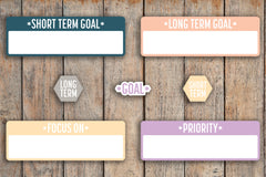 50 Goal Bubble Words, Long Term & Short Term Goal Hexagons, Priority / Focus On / Goal Box Stickers for 2018 inkWELL Press Planners IWP-Q80