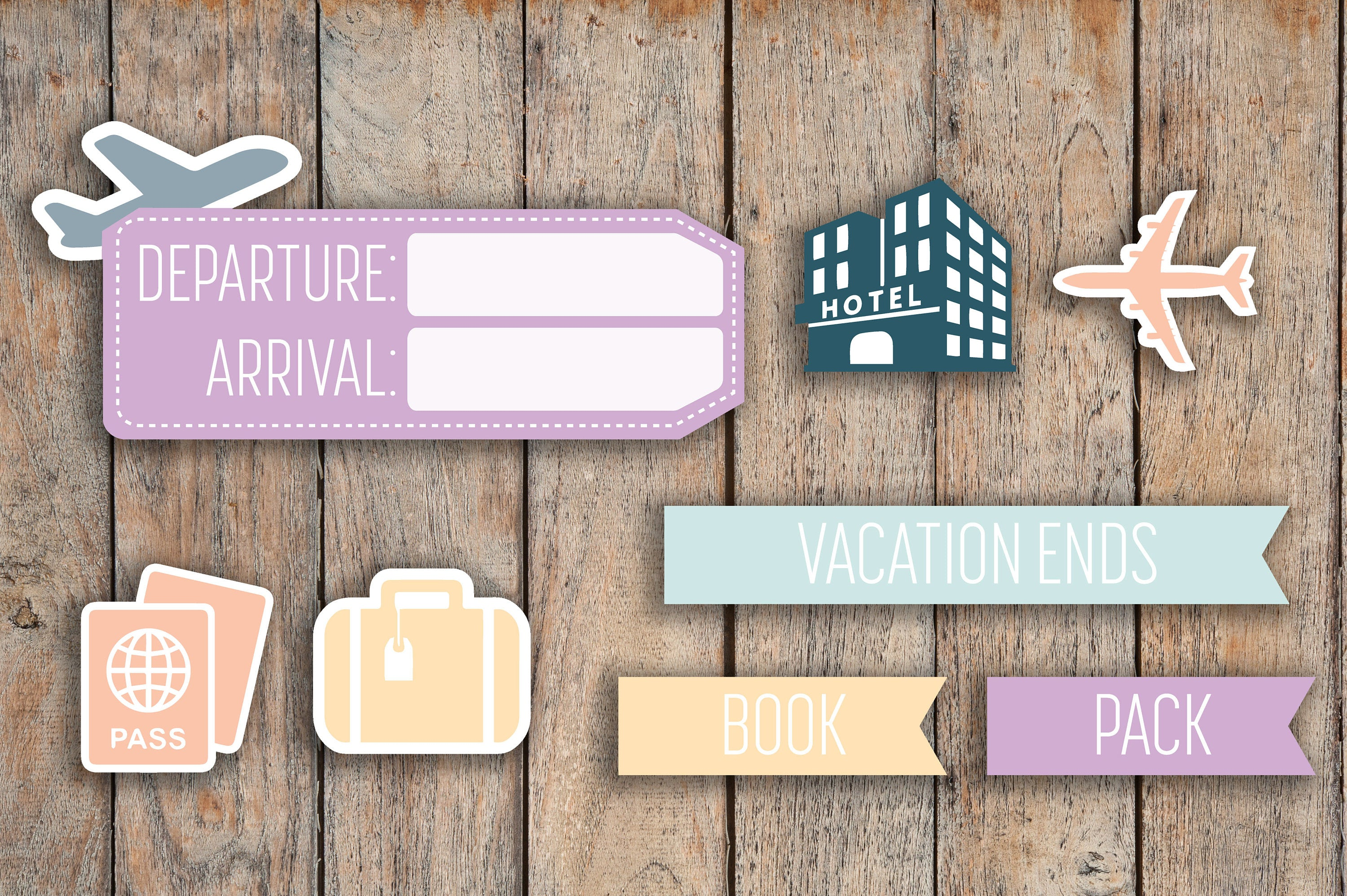 Airline Travel, Vacation Sampler | Flight, Airplane, Hotel, Luggage, Passport | Stickers for 2018 inkWELL Press Planners IWP-Q43