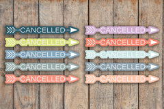 42 Cancelled Bubble Word Arrow Planner Stickers for 2018 inkWELL Press Planners IWP-Q123