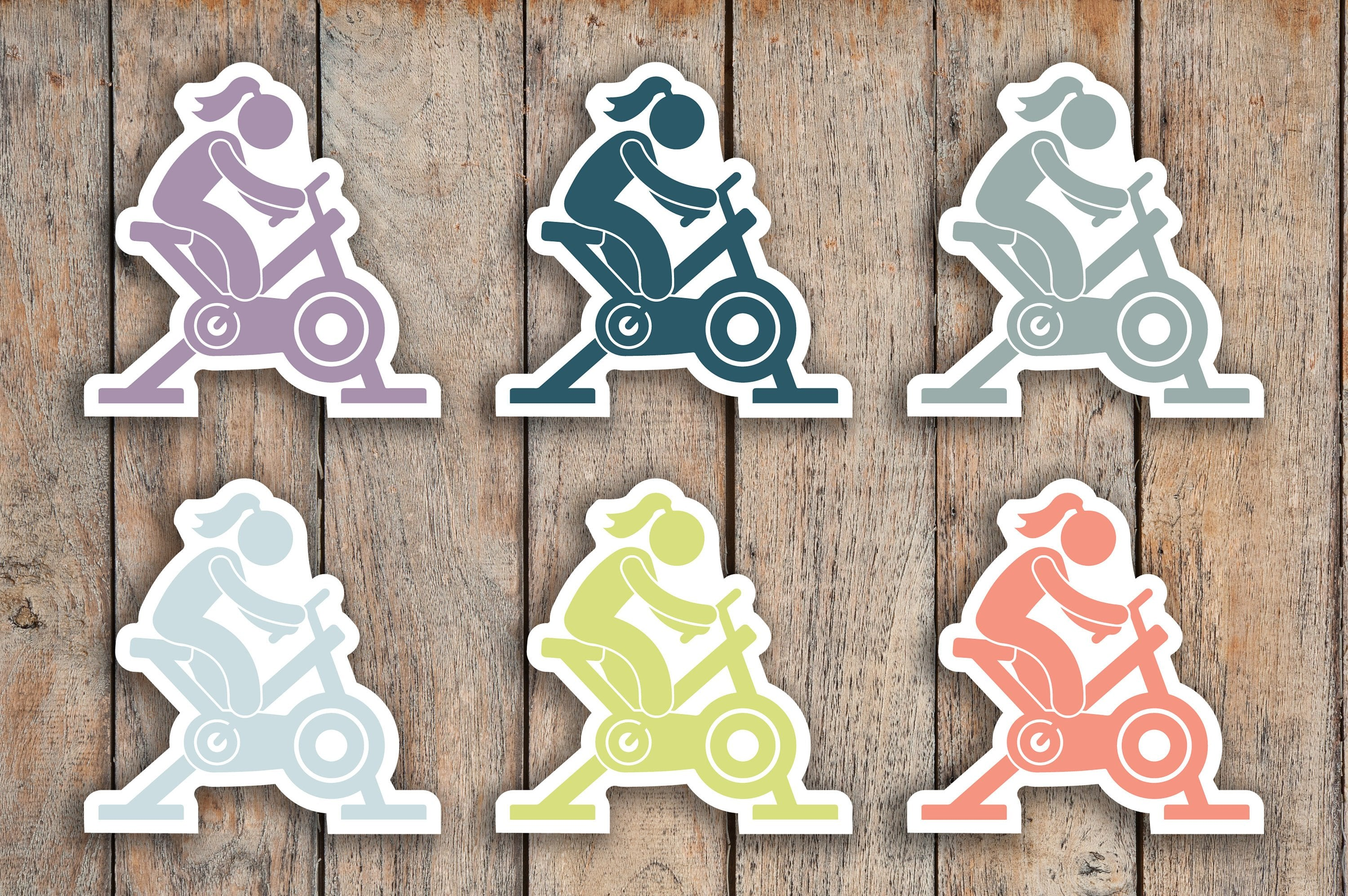 48 Spin, Cycle, Stationary Bike, Fitness Icon Planner Stickers for 2018 inkWELL Press Planners IWP-Q74