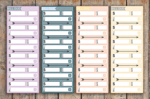 4 Month View Sidebar Striped Bill Due Label Planner Stickers for 2018 inkWELL Press Planners IWP-L34