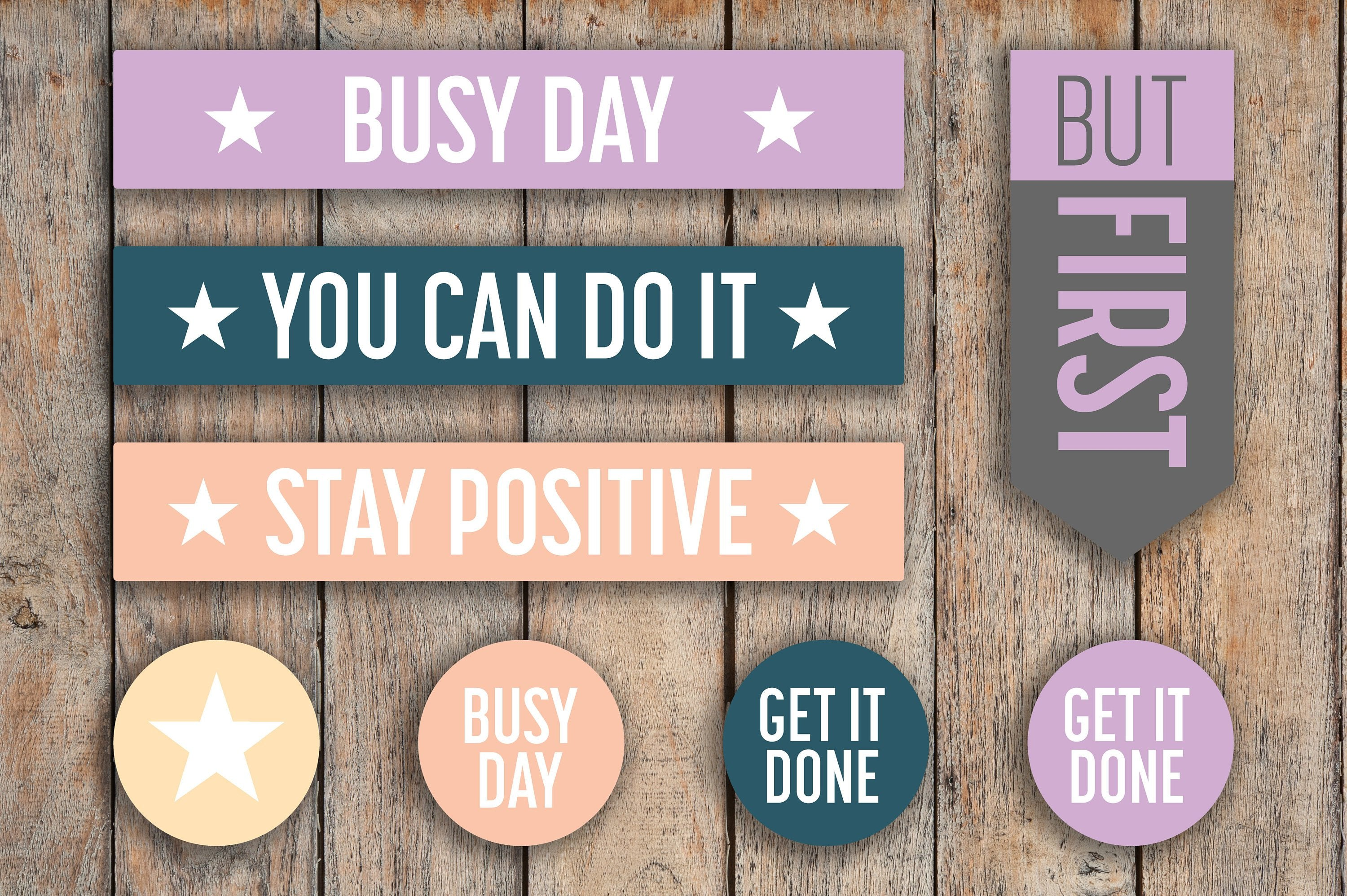 51 Busy Day, Stay Positive, You Can Do It, Motivation, But First, Must Do Planner Stickers for 2018 inkWELL Press Planners IWP-Q104