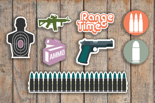 58 Shooting, Range, Gun, Pistol, Handgun, Weapon Sampler Firearm, Military Icon Planner Stickers for 2018 inkWELL Press Planners IWP-Q201