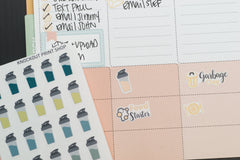 50 Shaker Bottle, Protein Shake Bottle, Meal Replacement, Water Intake Planner Stickers for 2018 inkWELL Press Planners IWP-Q228