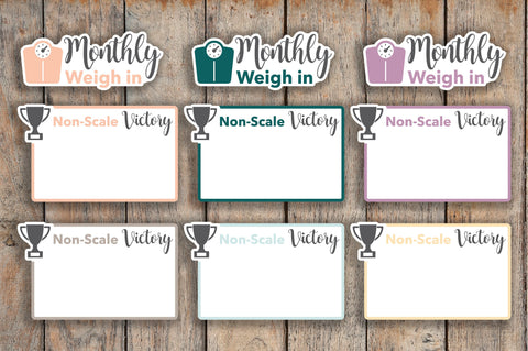 12 Monthly Weigh-in, Weigh in, NSV Half Boxes, Non-Scale Victory Boxes, Health Planner Stickers for 2018 inkWELL Press Planners IWP-Q234