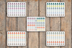 54 School Backpack, Vacation, Packing Icon Planner Stickers for 2018 inkWELL Press Planners IWP-Q172