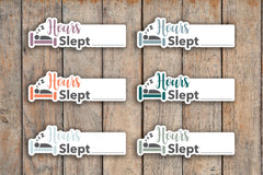 24 Sleep Tracker, Hours Slept, Sleepy Planner Stickers for 2018 inkWELL Press Planners IWP-Q179