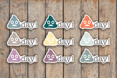35 Poopy Day, Crap Day, Bad Day, Poop Emoji Icon Planner Stickers for 2018 inkWELL Press Planners IWP-Q225