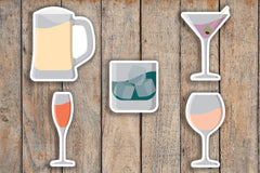 35 Wine, Beer, Whiskey, Martini, Champaign, Alcohol, Drinks, Booze Sampler Icon Planner Stickers for 2018 inkWELL Press Planners IWP-Q249