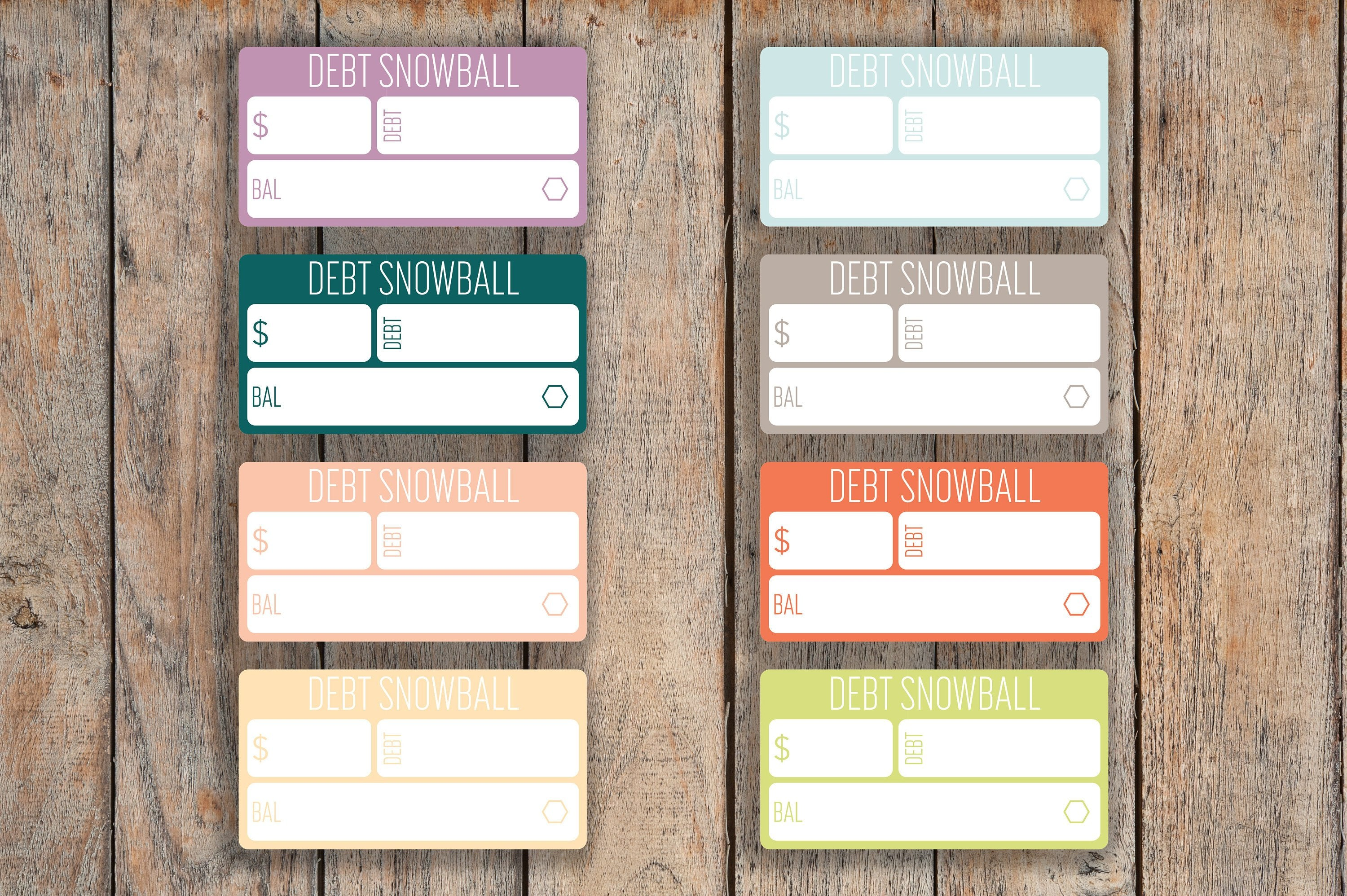 24 Debt Snowball, Bills, Debt Free, Monthly Bills, Money Budget Planning Stickers for 2018 inkWELL Press Planners IWP-L64
