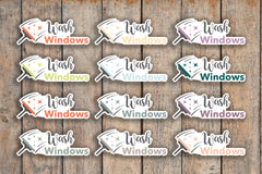 21 Wash Windows, Window Cleaning, House Chores Icon Planner Stickers for 2018 inkWELL Press Planners IWP-Q259