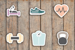 72 V2 Fitness, Run, Sleep, Heart Rate, Lift, Workout, Kettlebell, Scale Icon Planner Stickers for 2018 inkWELL Press Planners IWP-Q266