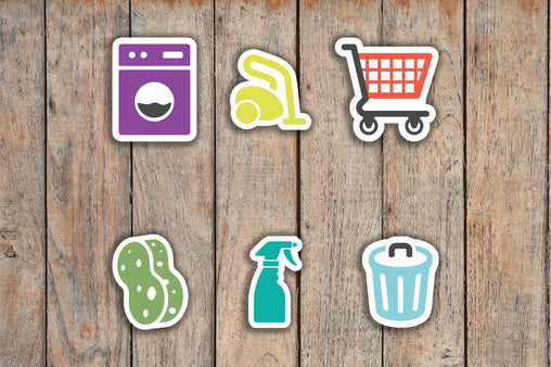 72 Cleaning/Chore | Laundry, Vacuum, Spray Bottle, Grocery Cart, Trash, Sponge Icon Stickers KQ5