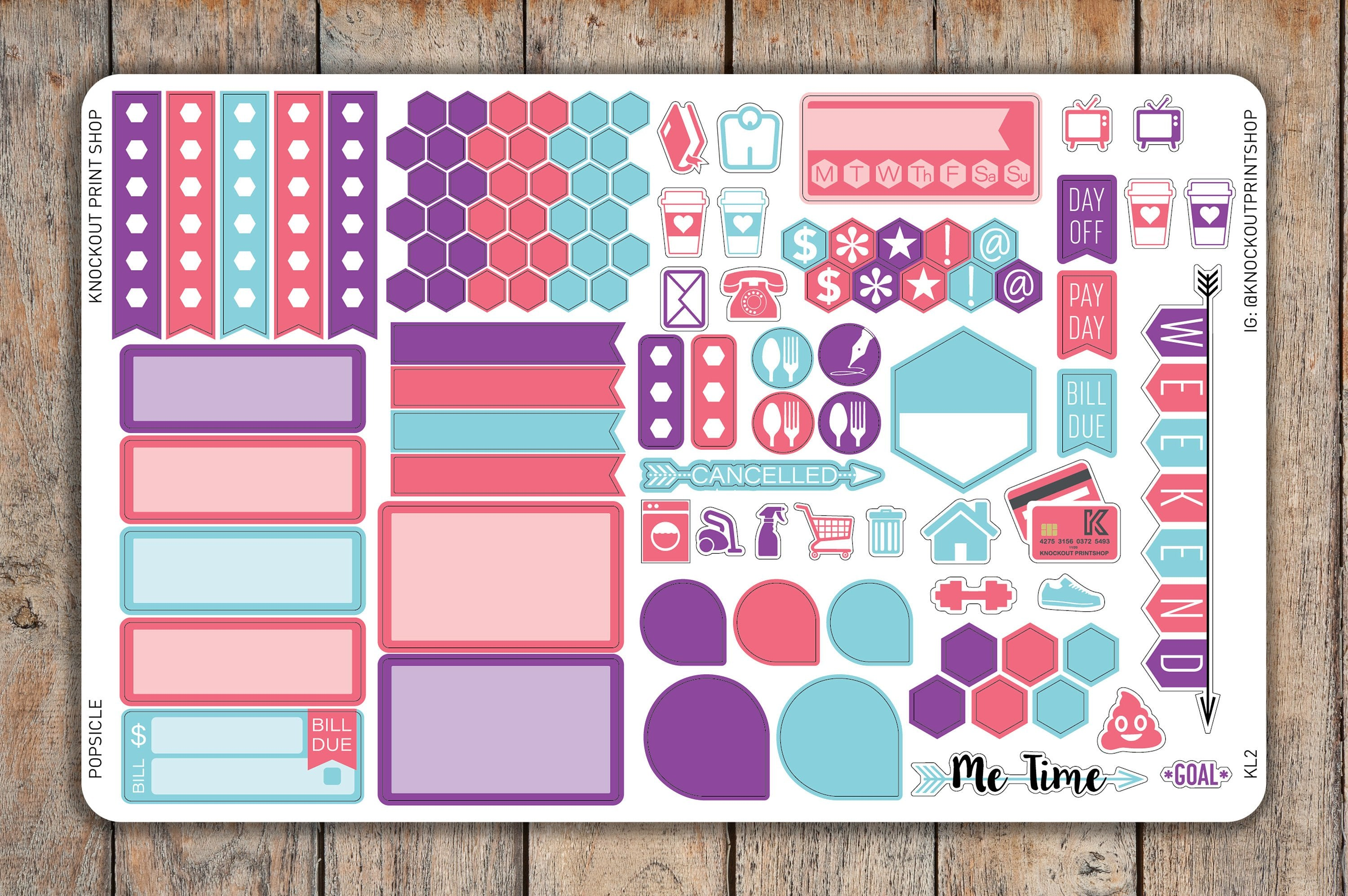 108 Solid Sticker SAMPLER | Banner, Hexagons, Boxes, Icons, Flags and More | KL2