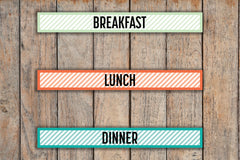 45 Striped Breakfast, Lunch, Dinner, Meal planning 30 Min Block Stickers for Passion Planner Pro Planners PQ25