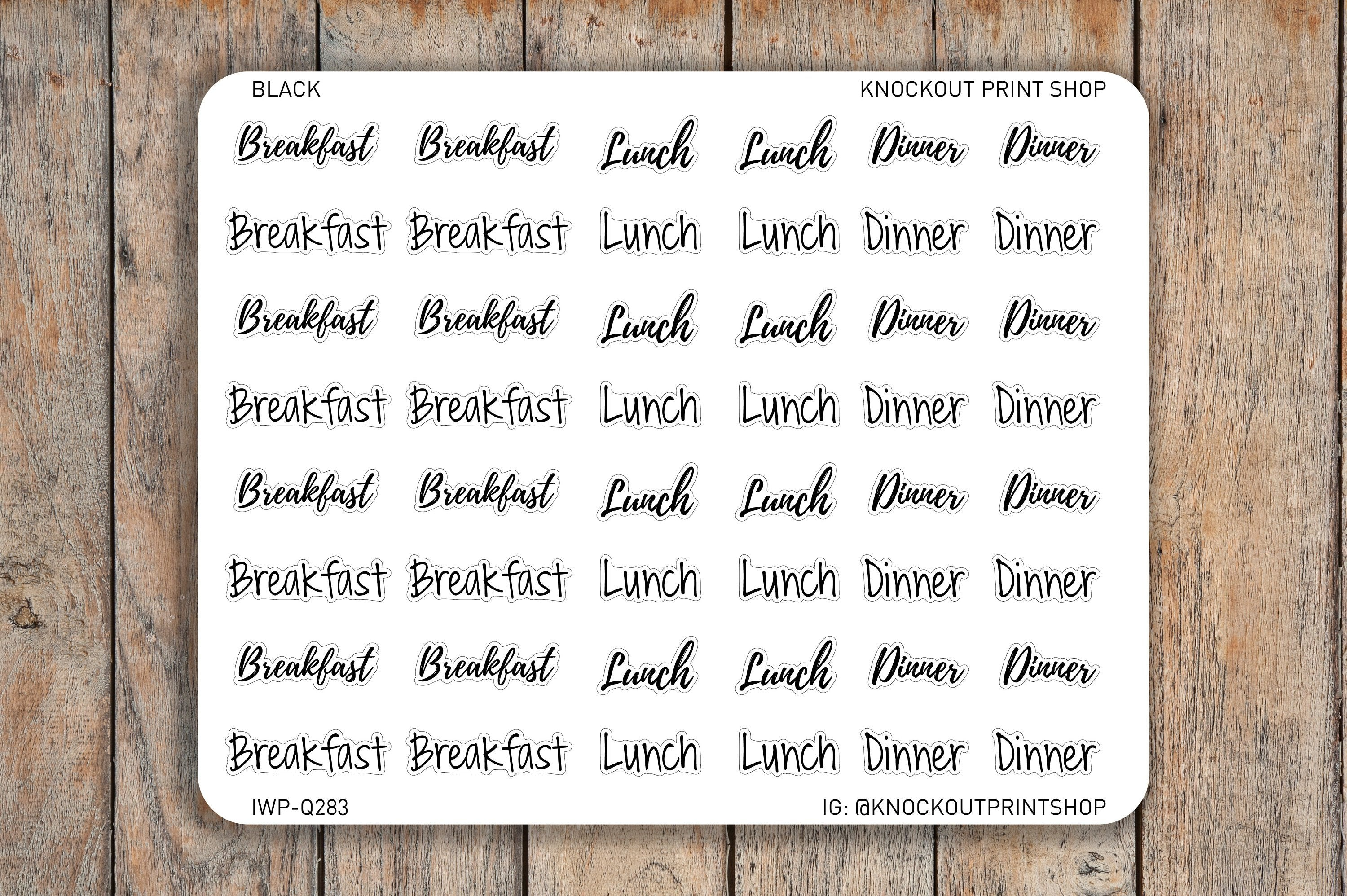 42 Breakfast, Lunch, Dinner Script / Bubble Word Planner Stickers for Erin Condren, Passion Planner, inkWELL Press Planners IWP-Q283