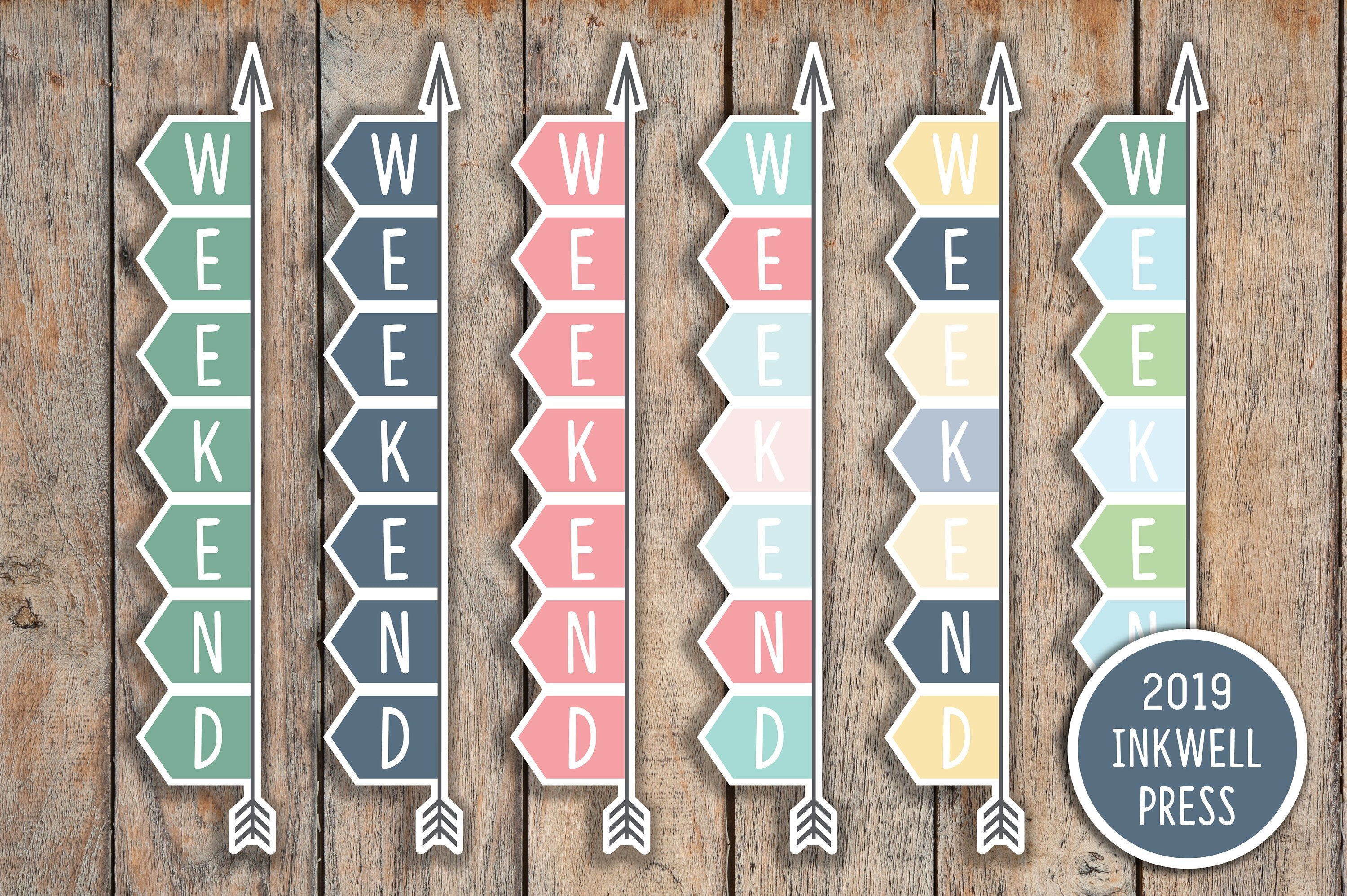 11 FLEX Solid Weekend Banner, Day Off, Off Stickers for 2019 inkWELL Press Planners IWP-G11