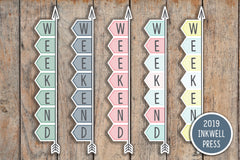 11 A5 & BOUND FLEX Striped Weekend Banner, Day Off, Off Stickers for 2018 inkWELL Press IWP-G9