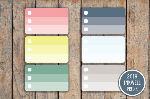 21 Ombre Checkbox Blank Half Box Planner Stickers for 2019 inkWELL Press Planners IWP-G17