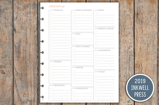 Grocery List, Food Planning, Meal Plan, Meal List, Food List PRINTED Planner Inserts IWP-I11