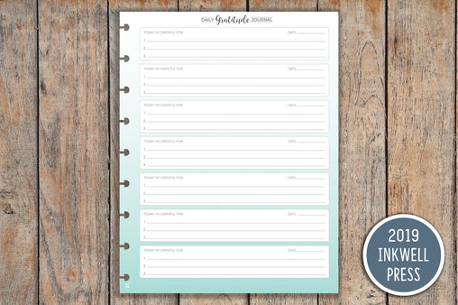 Gratitude Journal PRINTED Planner Inserts for Inkwell Disc Planner IWP-I13