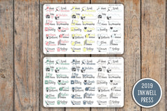 42 Cleaning Sampler Planner Stickers for 2019 inkWELL Press Planners IWP-G3