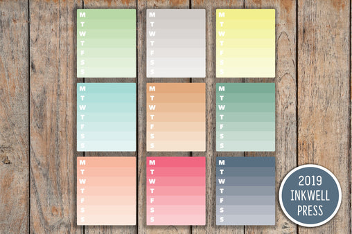 9 Ombre Checkbox Blank Full Box Planner Stickers for 2019 inkWELL Press Planners IWP-G30