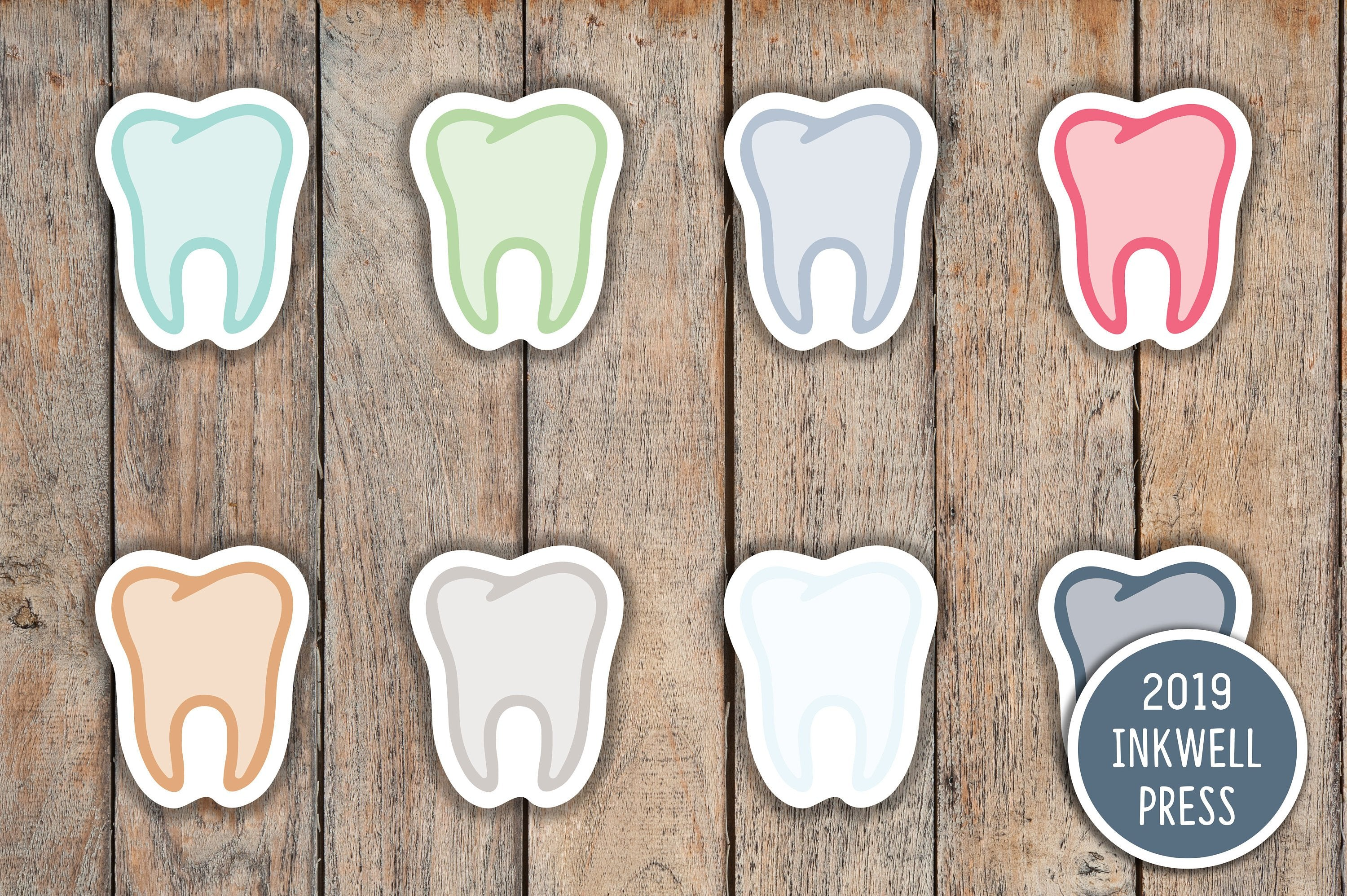 77 Tooth, Dentist Icon Planner Stickers for 2019 inkWELL Press Planners IWP-T122