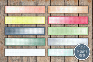26 Blank Striped Monthly Planner Stickers for 2019 inkWELL Press Planners IWP-T127