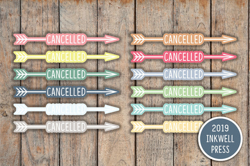42 Cancelled Bubble Word Arrow Planner Stickers for 2019 inkWELL Press Planners IWP-T129