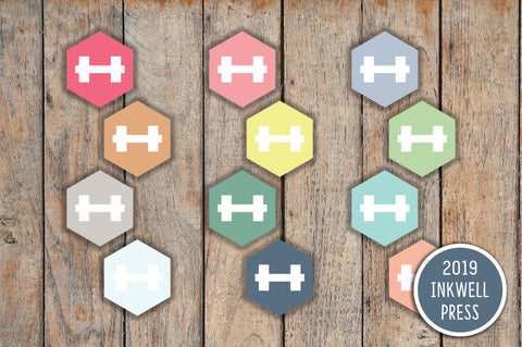 168 SMALL Hexagon Dumbbell Planner Stickers for 2019 inkWELL Press Planners IWP-T130