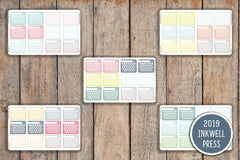12 Striped One Month Habit Tracker Checkbox Planner Stickers for 2019 inkWELL Press Planners IWP-G32