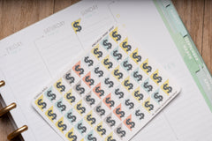 54 Dollars Sign, Payday Corner Label Planner Stickers for 2019 inkWELL Press Planners IWP-T120