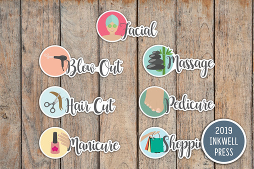 21 Treat Yourself, Self-Care  Stickers for 2019 inkWELL Press Planners IWP-T134