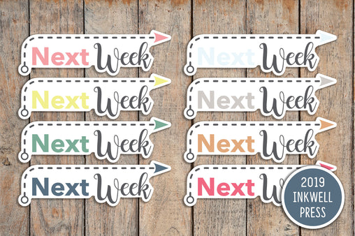 24 Next Week Header Stickers for 2019 inkWELL Press Planners IWP-T140