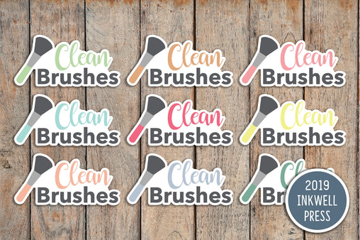 24 Make Up Brush Cleaning Icon Planner Stickers for 2019 inkWELL Press Planners IWP-T149