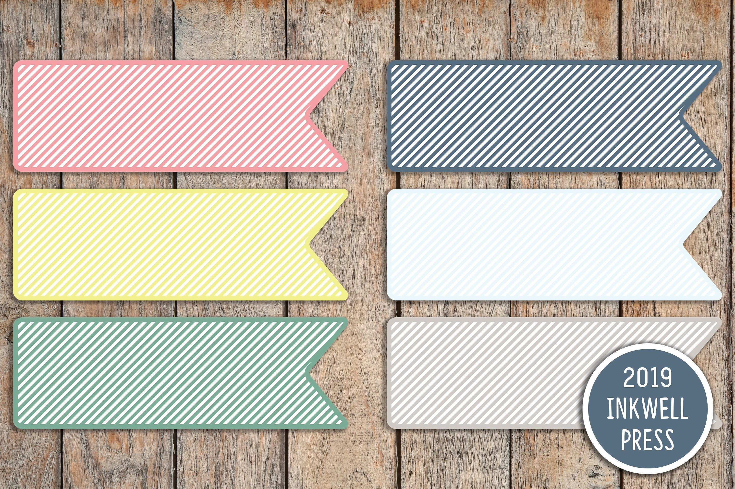 18 Striped Long Flag Shaped Planner Stickers for 2019 inkWELL Press Planners IWP-T152