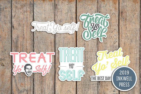 15 Treat Yo Self Parks & Rec, Shopping Day Planner Stickers for 2019 inkWELL Press Planners IWP-T153