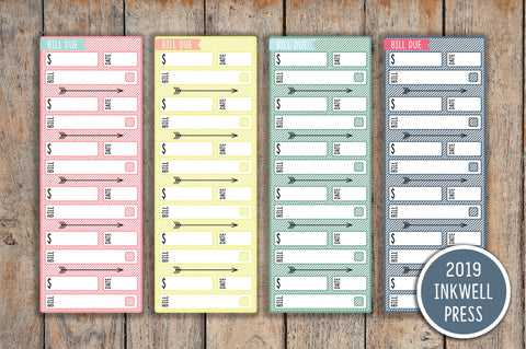 4 Month View Sidebar Striped Bill Due Label Planner Stickers for 2019 inkWELL Press Planners IWP-G21