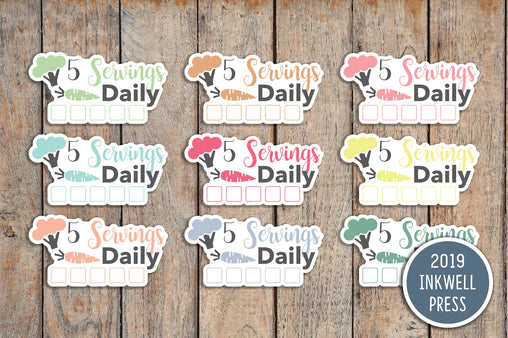 24 Vegetable Tracker, 5 Daily Servings Label Stickers for 2019 inkWELL Press Planners IWP-T163