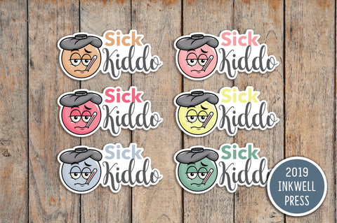 24 Sick Kiddo, Sick Day, No School Planner Stickers for 2019 inkWELL Press Planners IWP-T173