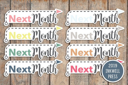 24 Next Month Dashed Arrow Header Stickers for 2019 inkWELL Press Planners IWP-T177