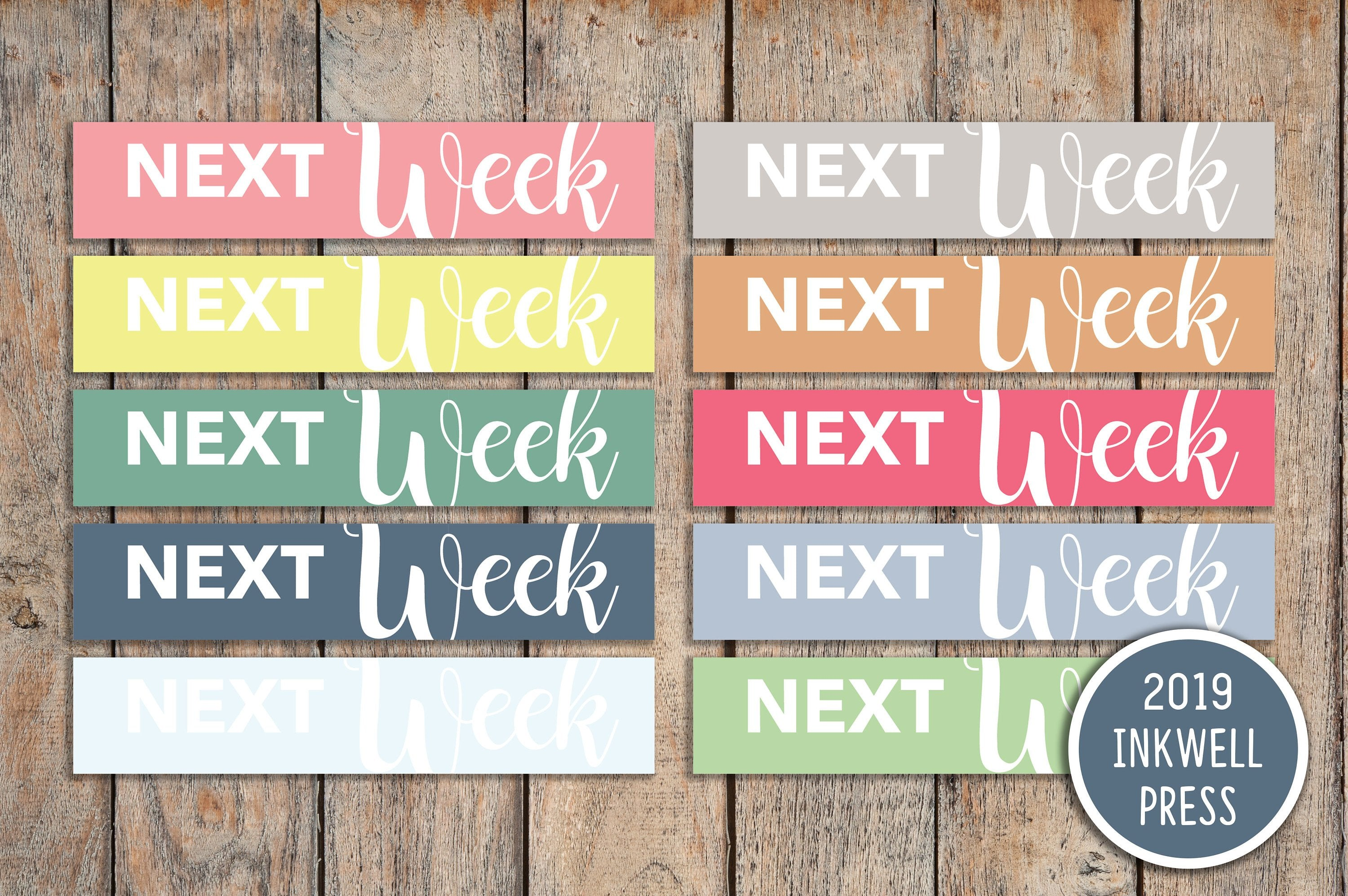 30 Next Week Sampler Headers CLASSIC a5 & Bound Header Stickers for 2019 inkWELL Press Planners IWP-T180