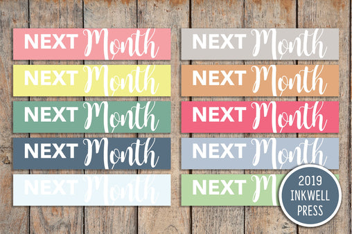 30 Next Month Headers CLASSIC a5 & Bound Header Stickers for 2018 inkWELL Press Planners IWP-T182